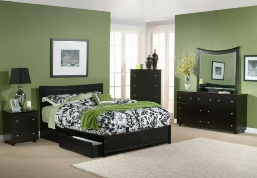 green bedroom colors photo - 1