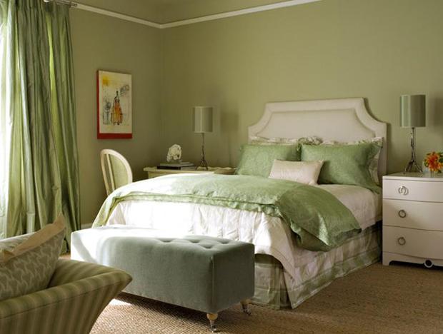 green walls in bedroom photo - 1