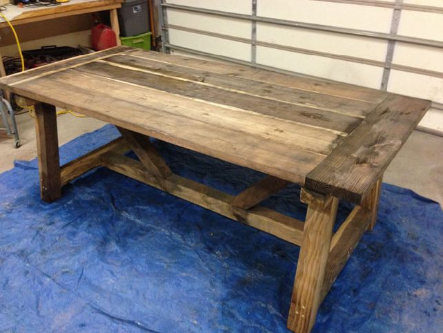 How to build a rustic dining room table large and for Rustic dining room table plans