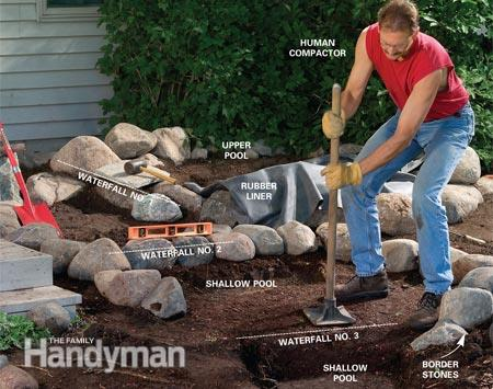How to make a backyard waterfall large and beautiful for Build a waterfall in your backyard