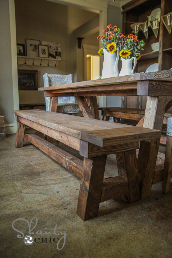 how to make a dining table bench photo - 2