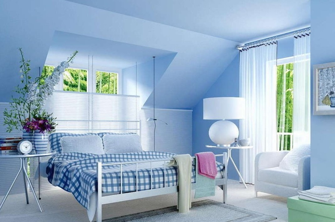 light blue bedroom walls photo - 1