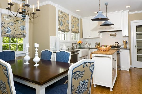 navy and white dining room photo - 1