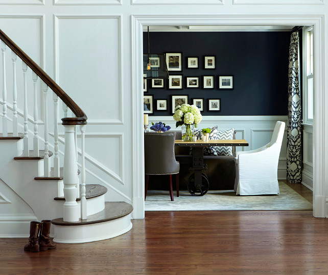navy and white dining room photo - 2