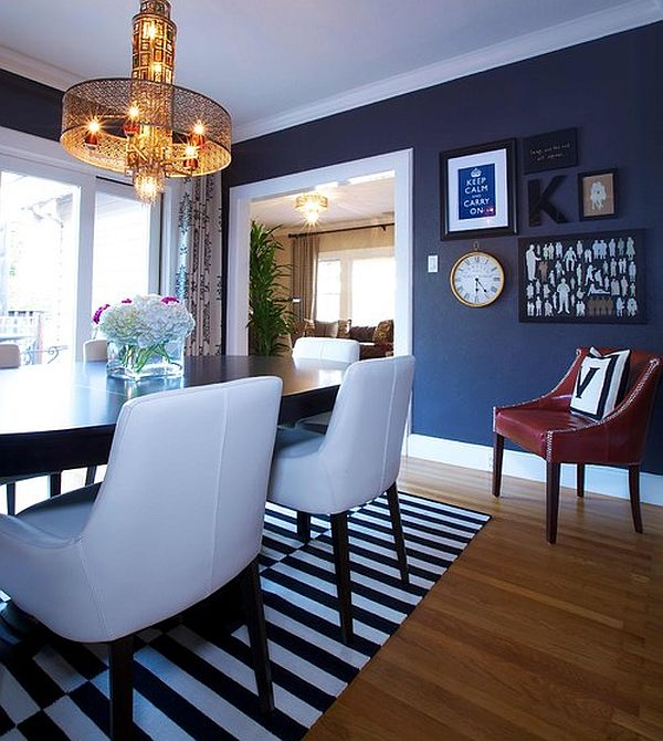 Navy blue dining room  large and beautiful photos Photo to