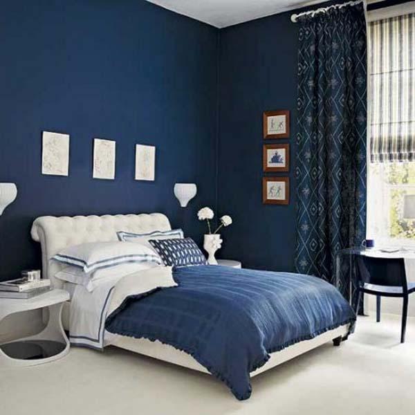 navy blue walls bedroom photo - 2