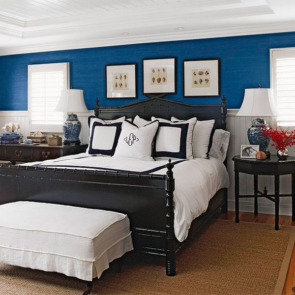 navy blue walls in bedroom photo - 1