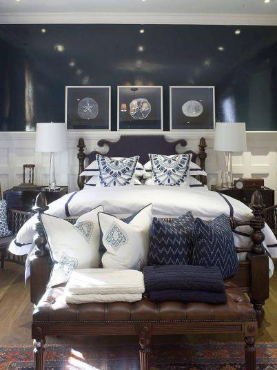 navy walls bedroom photo - 1