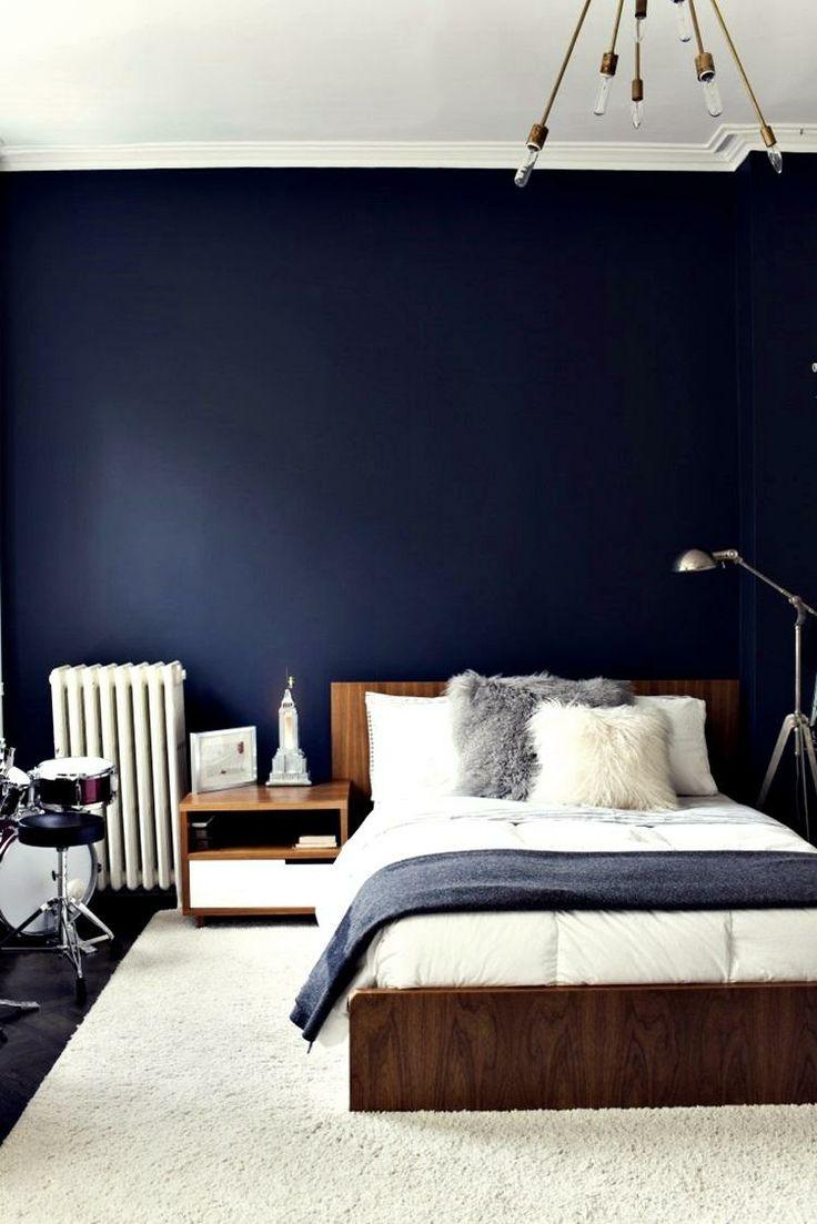navy walls bedroom photo - 2