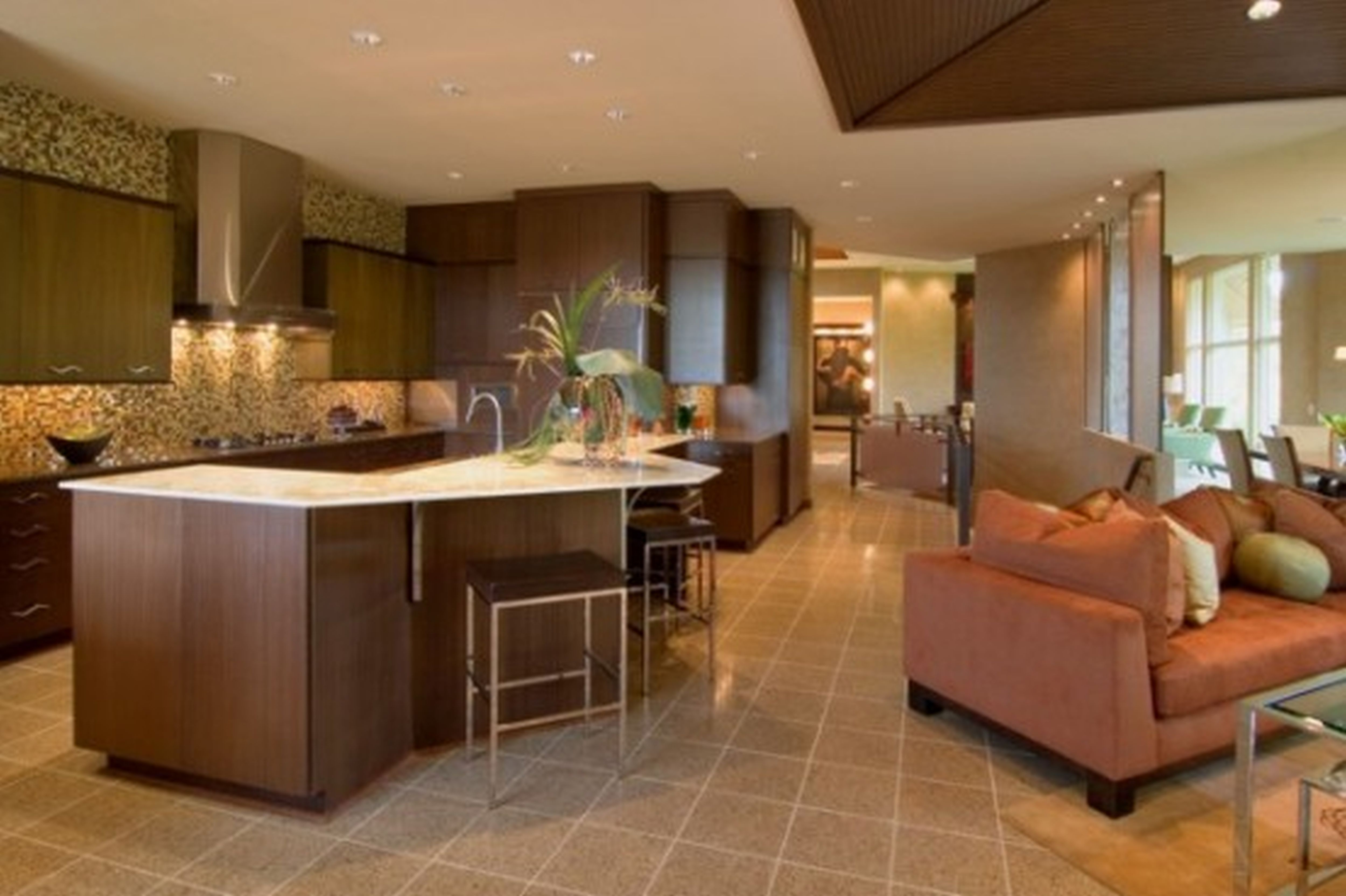 open floor plan kitchen and dining room photo - 1