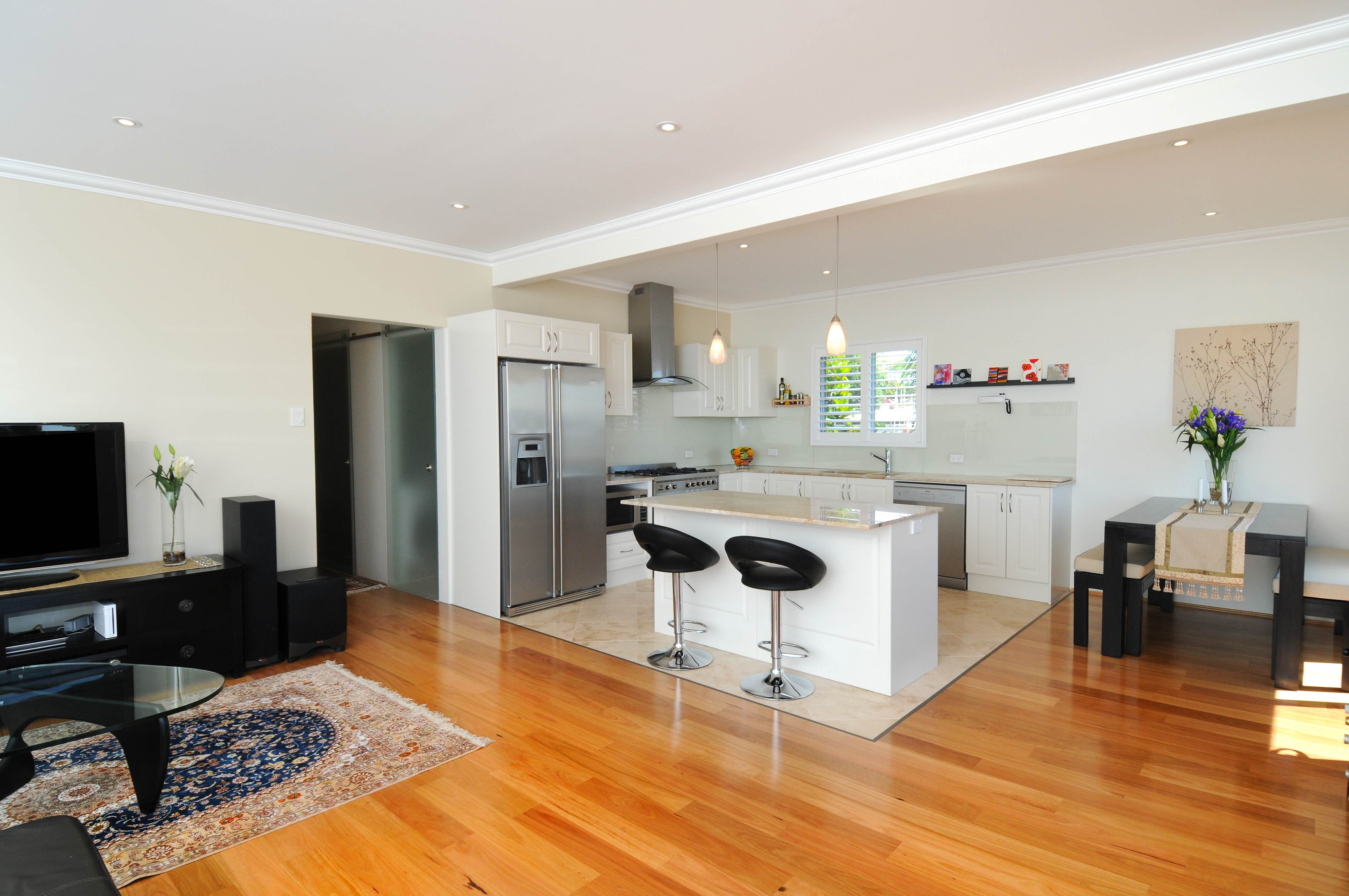 open floor plan kitchen and dining room photo - 2