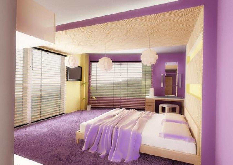 purple color schemes for bedrooms photo - 1