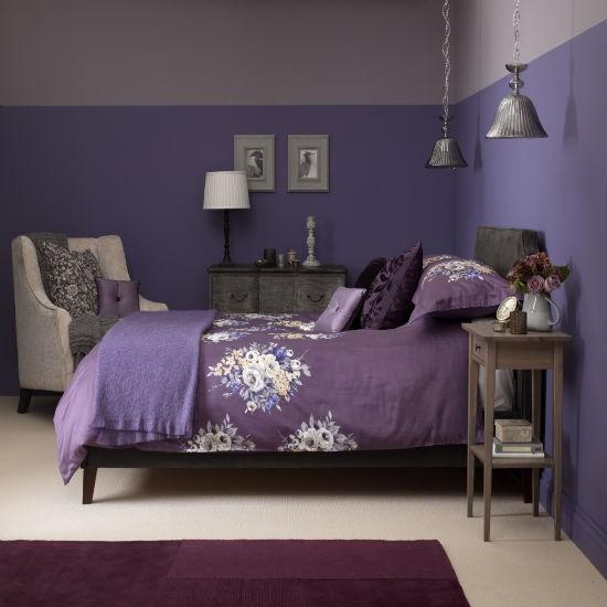 purple color schemes for bedrooms photo - 2