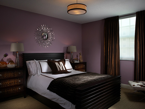 purple walls bedroom photo - 2
