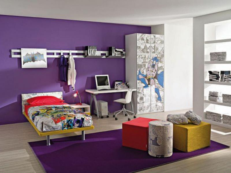 purple walls in bedroom photo - 2