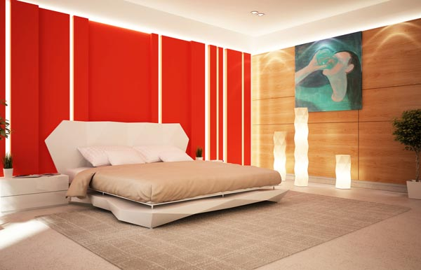 red accent wall in bedroom photo - 2