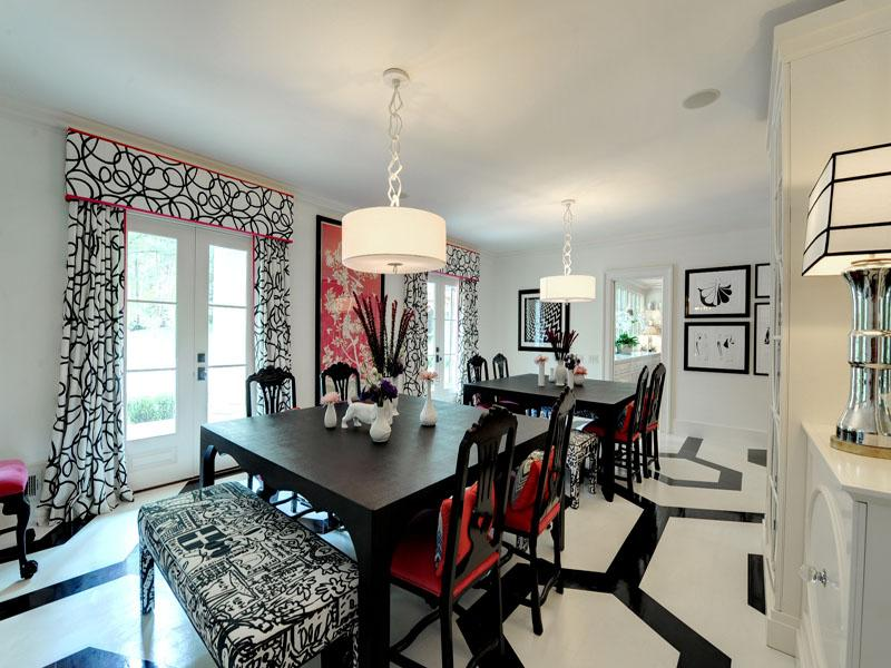 red and white dining room photo - 1