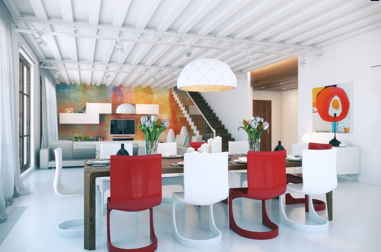 red and white dining room photo - 2