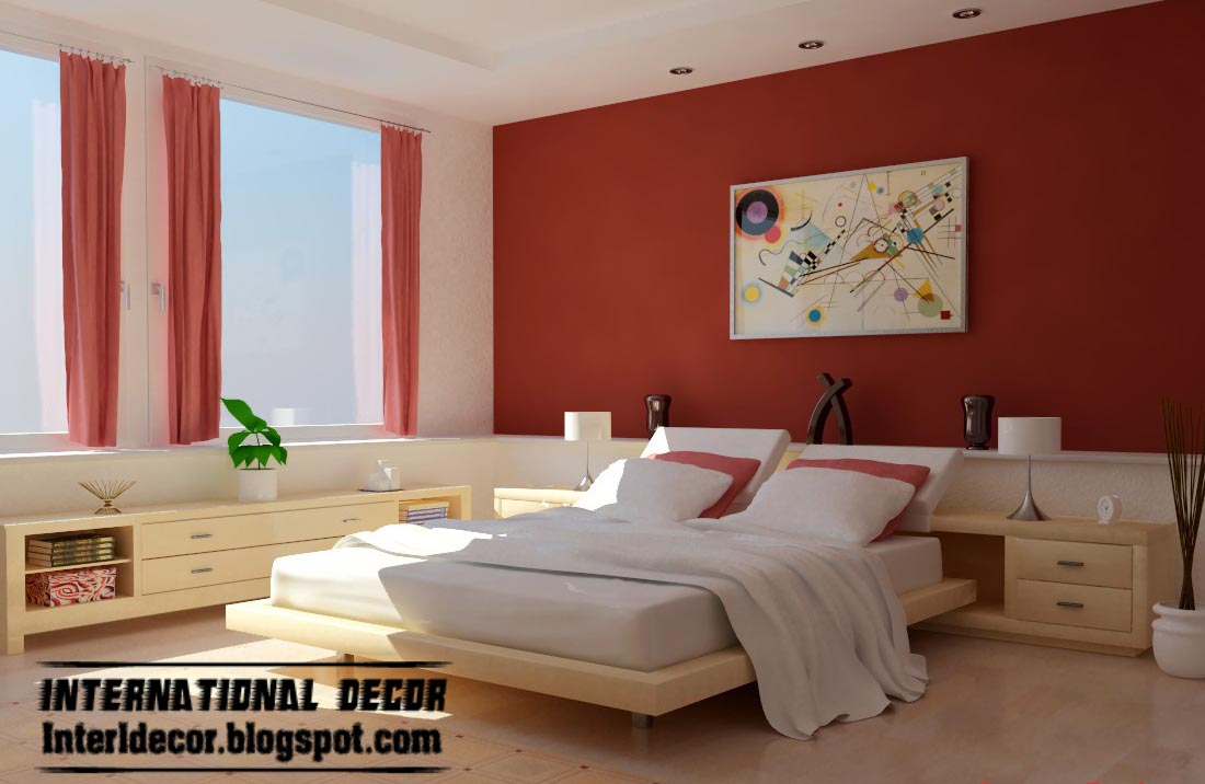 red bedroom color schemes photo - 1