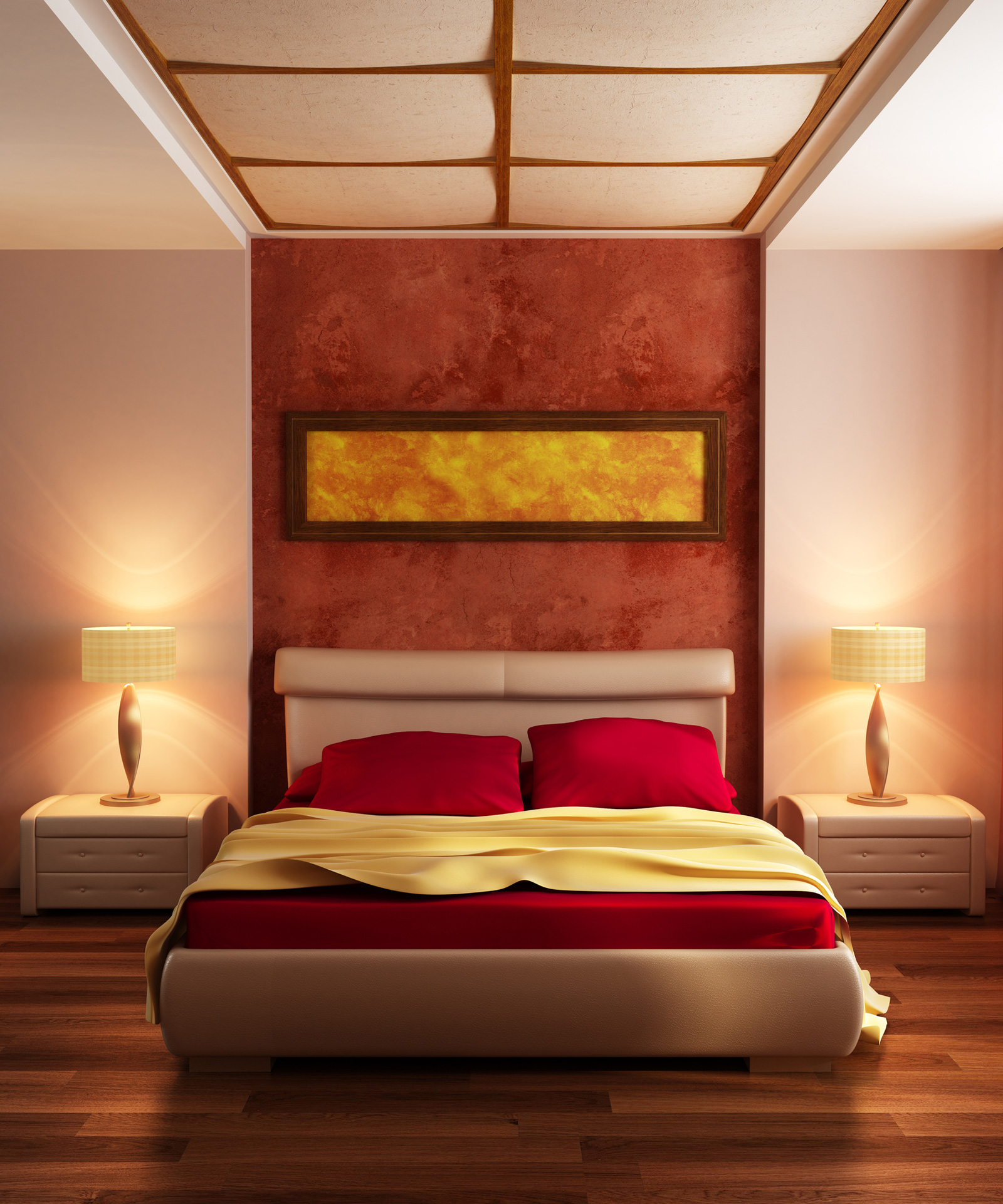 red bedroom color schemes photo - 2