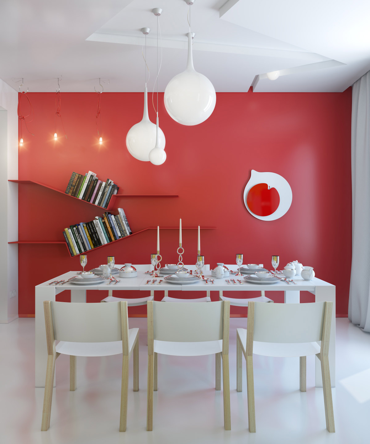 red dining room photo - 2