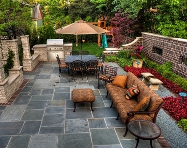 Small backyard patio ideas on a budget large and for Small stone patio ideas