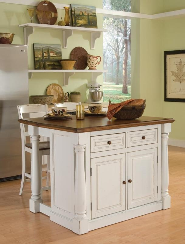 small kitchen island with stools photo - 2