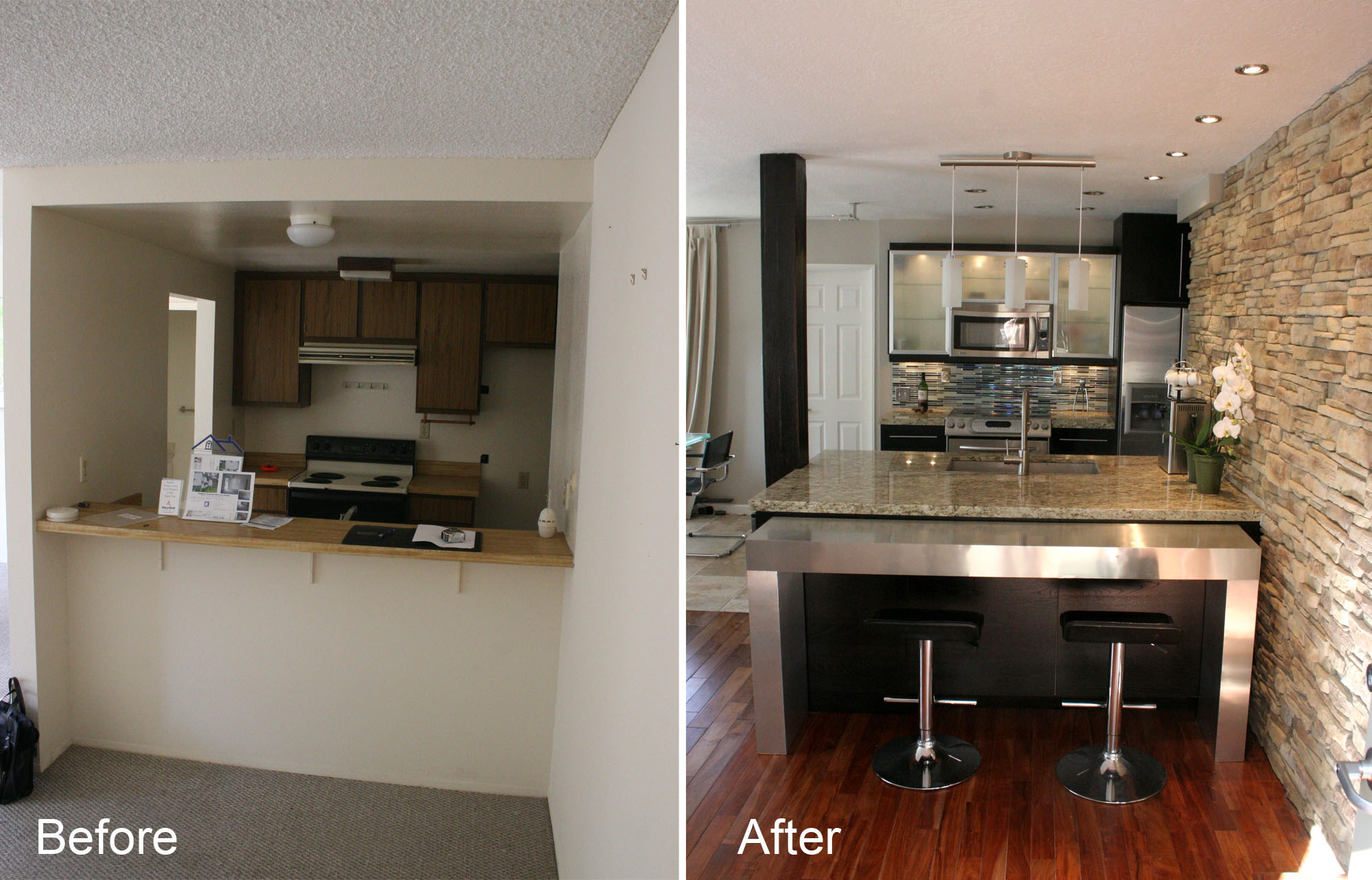 small kitchen makeovers before and after photo - 2