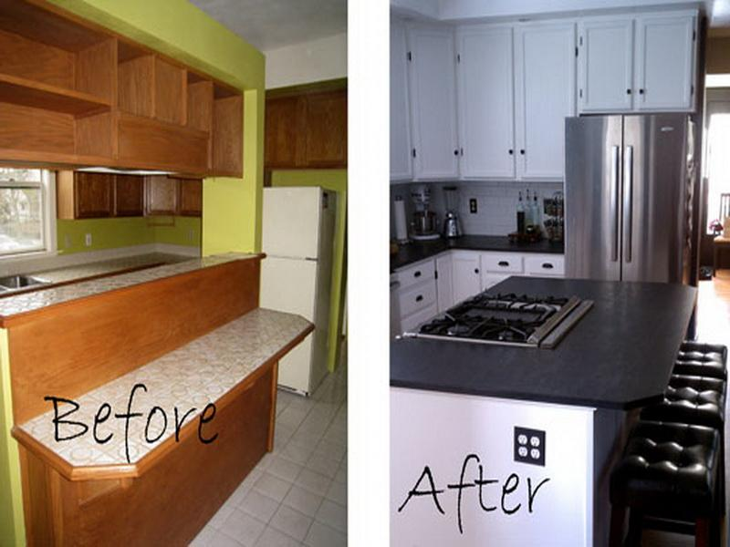 small kitchen remodel before and after photo - 2