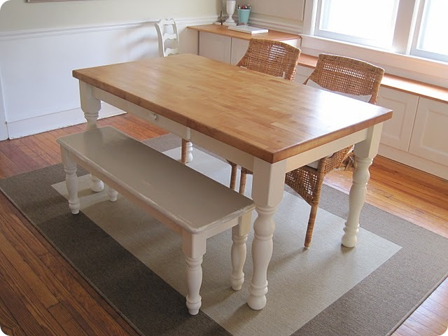 small kitchen table with bench photo - 2