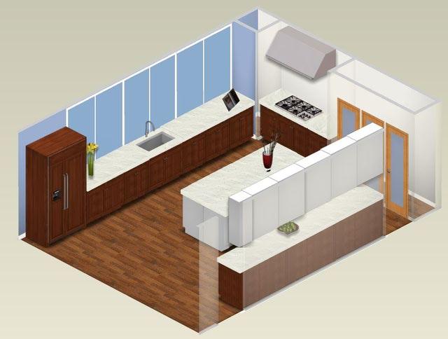 small square kitchen design photo - 2