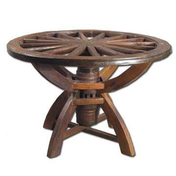 wagon wheel dining table photo - 2