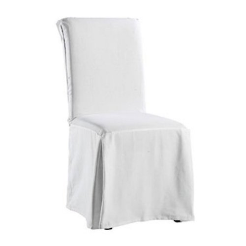 white dining room chair covers photo - 2