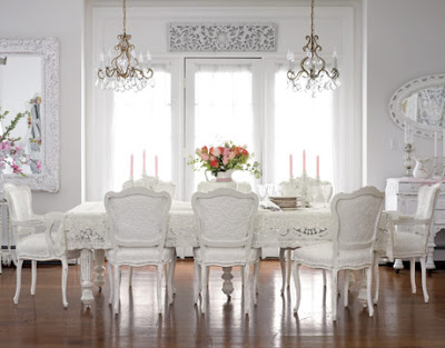 white dining rooms photo - 2