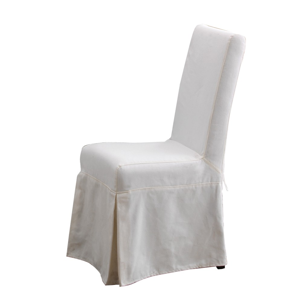 white slipcovered dining chair photo - 2