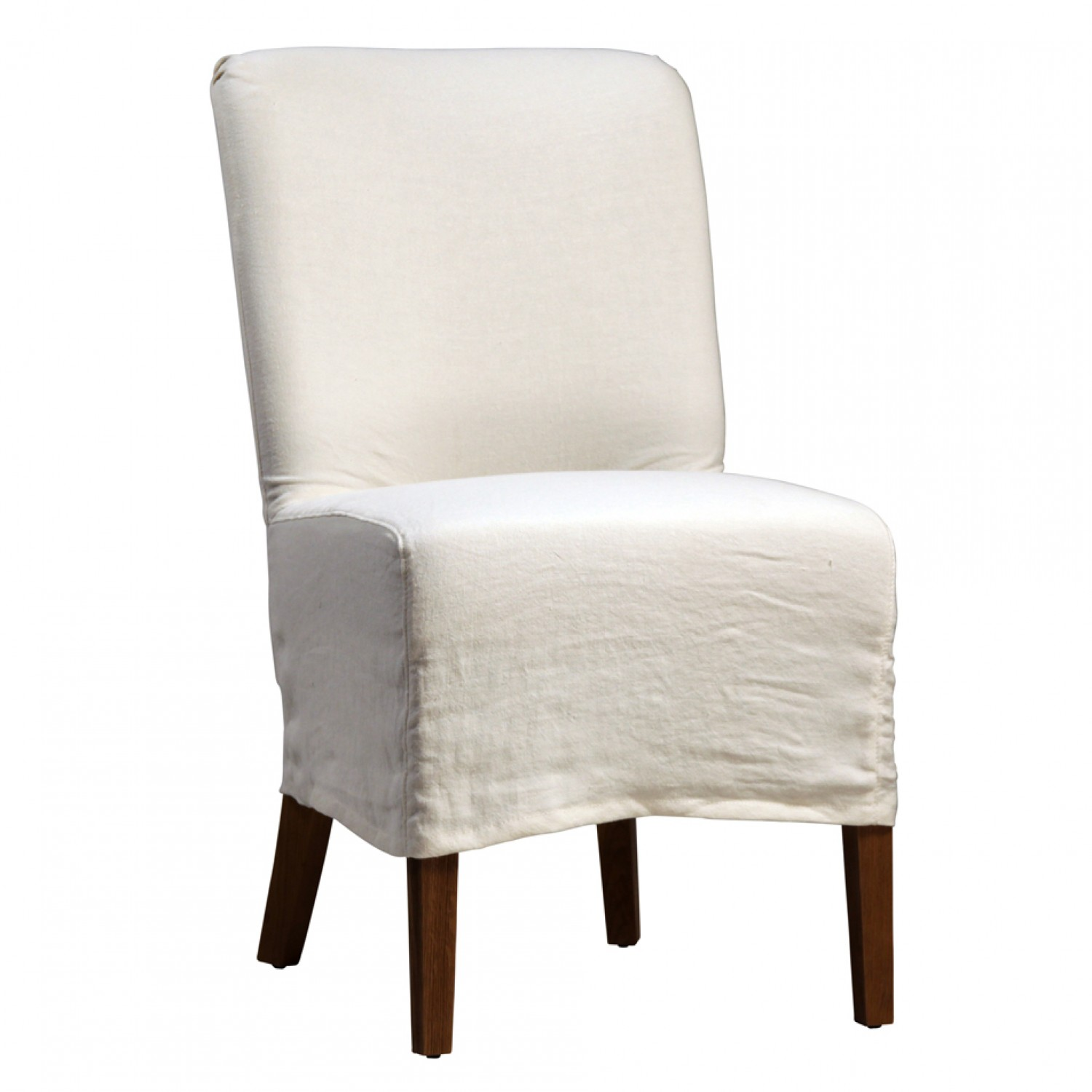 white slipcovered dining chairs photo - 1