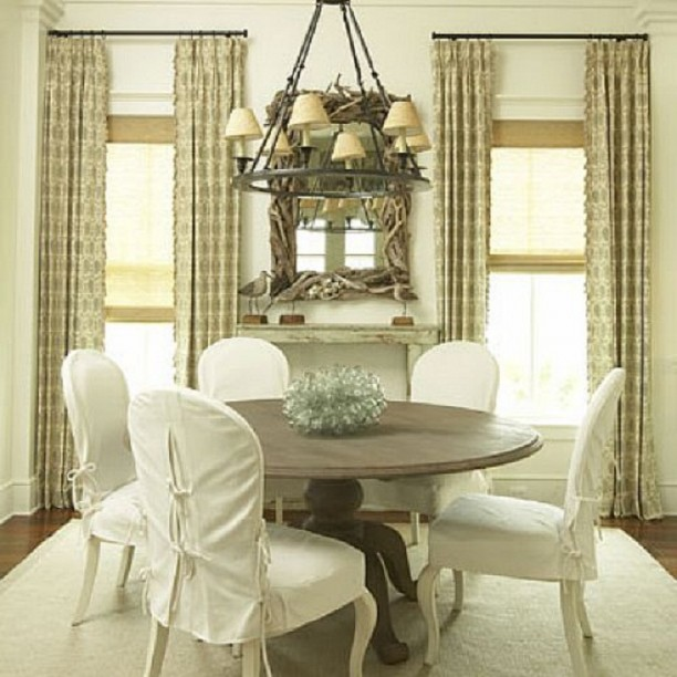 white slipcovers for dining chairs photo - 1