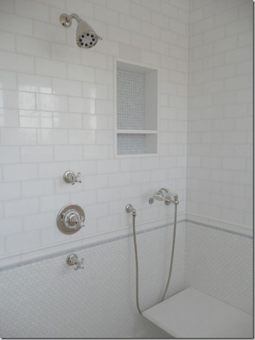 White Subway Tile Bathroom Large And
