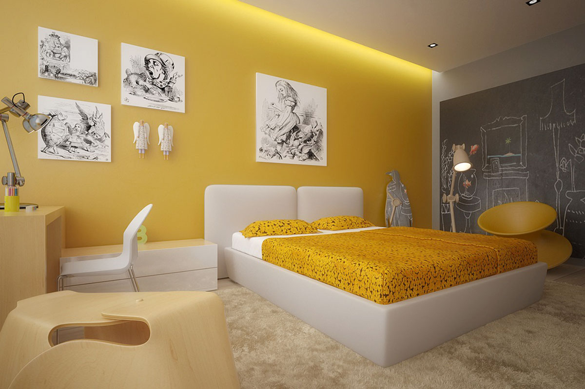 yellow color for bedroom photo - 1