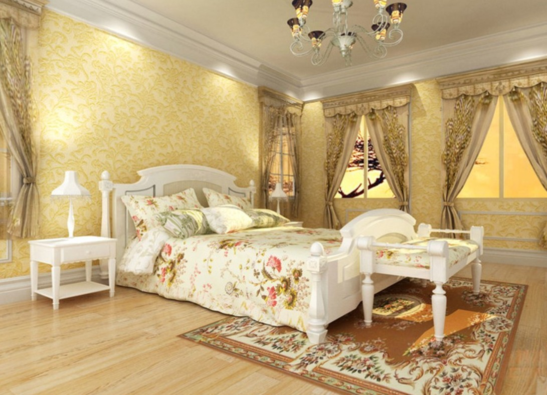 yellow walls in bedroom photo - 2